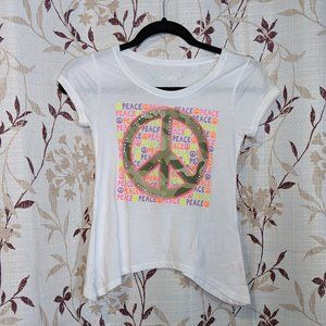 NWT Justice, White Peace Shirt, Size: 8 (girls)